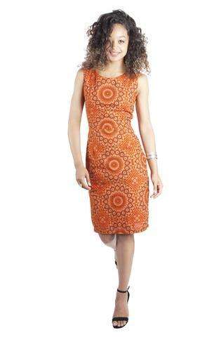 Sapelle Orange African Print Shweshwe Shift Dress