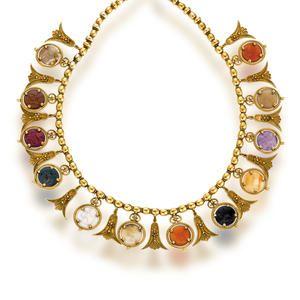 An Etruscan revival hardstone and eighteen karat gold necklace, Italian, 1880