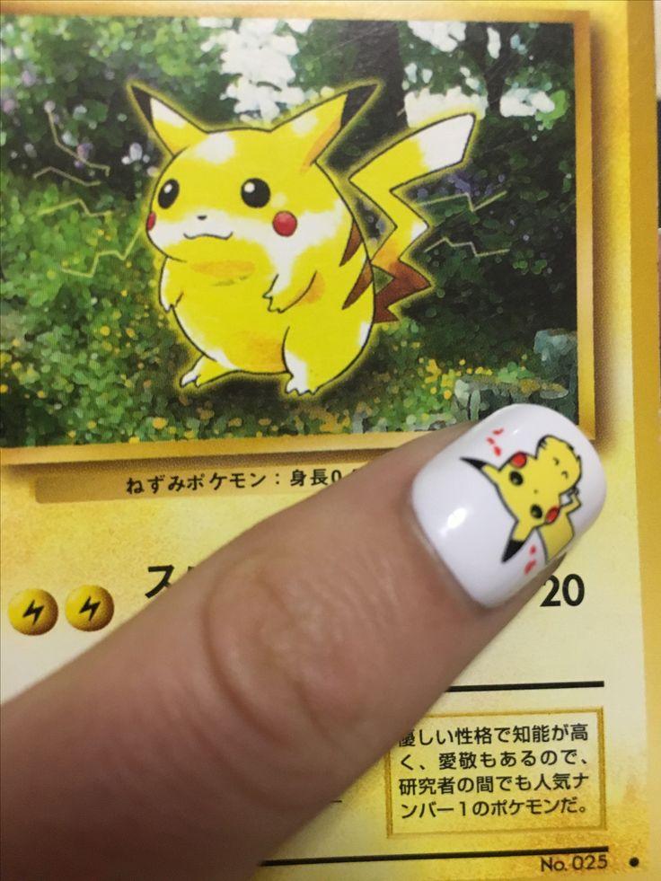 Pikachu nail art cute