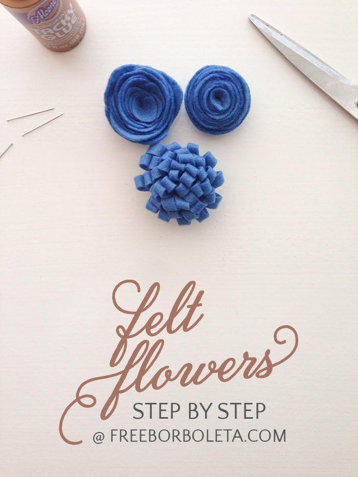 Felt Flowers - Step-by-step