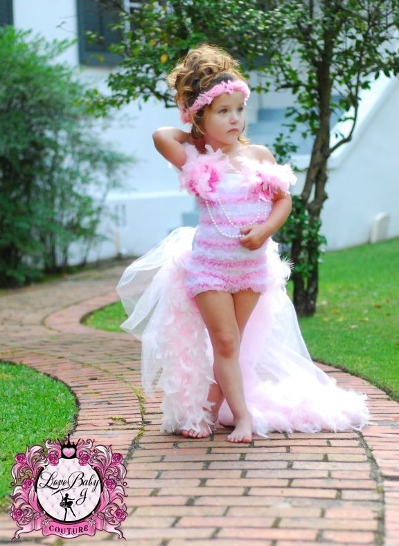 ♥Graceful Giavanna... A Demure Chiffon Romper With Removeable Bustle & Feather Lined Train. - $98.00 :: Love Baby J Boutique - Welcome to Love Baby J Couture - Boutique Clothing For Girls