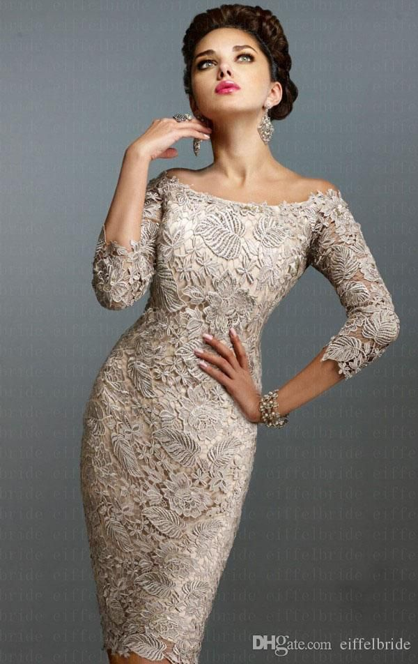 Latest European Mother of Bride Dresses 2015 with Sexy Lace Off-Shoulder 3/4 Long Sleeve Elegant Knee-Length Beach Mother Gowns of Wedding