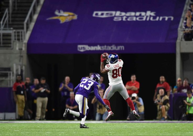 Monday Night Football: Giants vs. Vikings:   October 3, 2016  -  24 - 10, Vikings  -     Victor Cruz of the New York Giants catches the ball in the first half of the game against the Minnesota Vikings on Oct. 3, 2016 at U.S. Bank Stadium in Minneapolis.