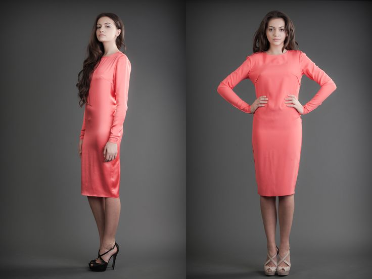 2 in 1 Dress - Shiny & Mat Coral