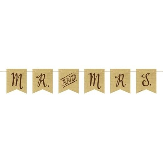 "Pack of 6 Rustic Wedding ""Mr & Mrs"" rown Burlap Pennant Flag Party Banners, Brown"