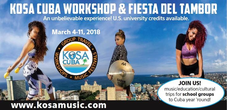 KoSA Cuba Camp & Festival  Havana March 4-11 2018  The 17th edition of the KoSA Cuba Workshop: One week study program and Fiesta del Tambor (Havana Rhythm and Dance Festival).  KoSA Music is proud to present its 17th edition of the KoSA Cuba Workshop and Fiesta del Tambor( Havana Rhythm and Dance Festival) taking place in Havana. US legal travel possible . University credits available ( up to 3 from US University). Intense Hands-on classes seminars playing  excursions and attending the…