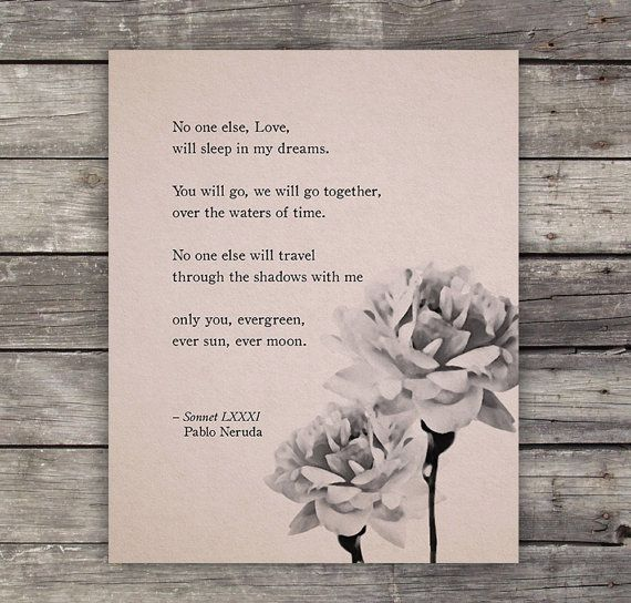 Love Poem Print  Pablo Neruda Love Poem  Poetry by Riverwaystudios, $18.00