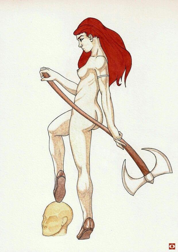 Red Sonja #marvel #redsonja #redhead #axe #nude