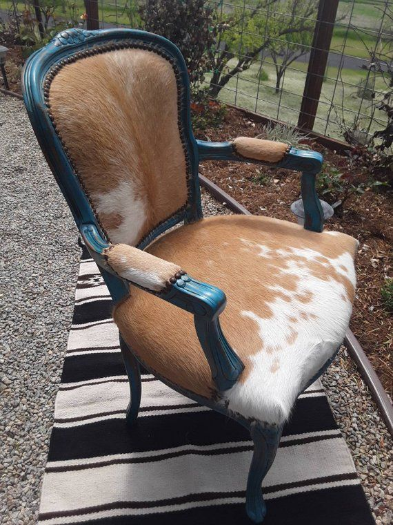 Made to Order Custom Palomino Cowhide and Turquoise Chair