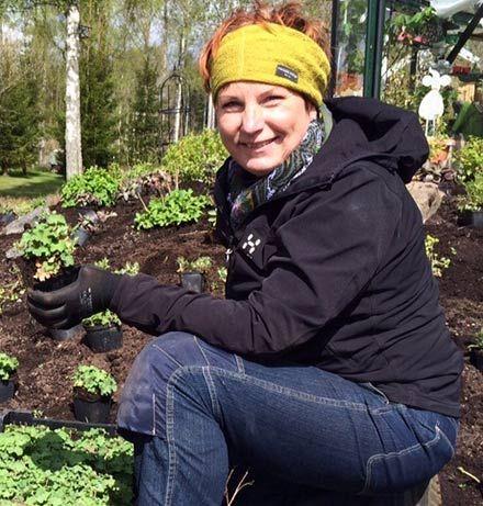Ulla Fogelström arbetar med en trädgårdsdesign