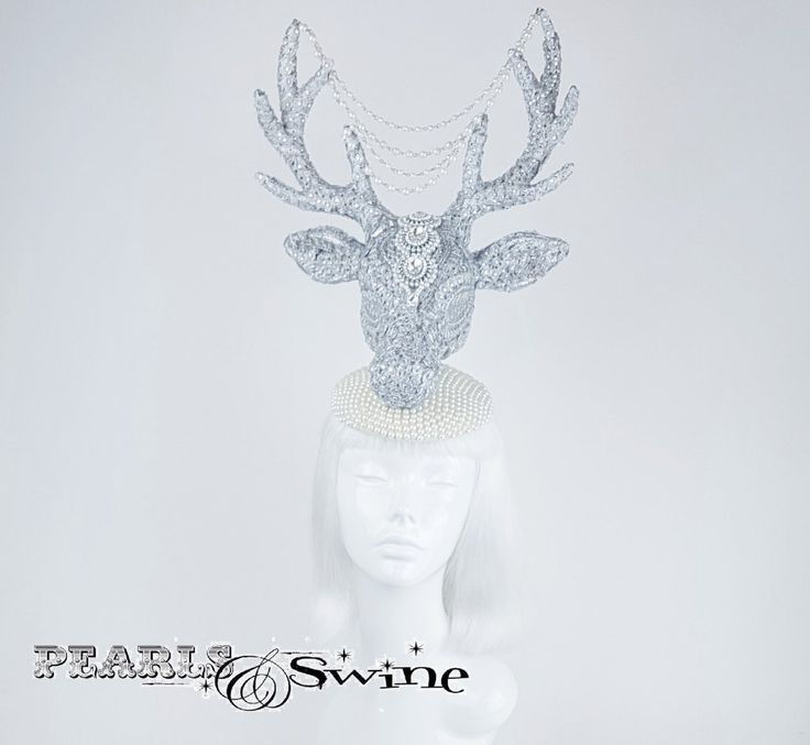"Unique Jewel encrusted stag headpeice ""Out of the mist"" A one of a kind, OTT 3D stag hat, covered in silver glitter, lace and clear gems bejewelled with crystals and pearls. This dramatic deer antler hat is a piece of wearable art that should really be displayed in a glass cabinet when not worn. Guaranteed to steal the show at the races or a surreal ball!"