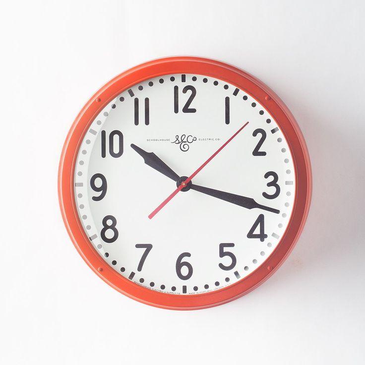 Schoolhouse Electric Clock - Color: Persimmon