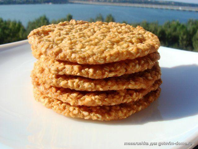 Кунжутное печенье. Хрустящее с карамельно-ореховым вкусом
