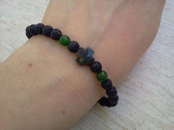 6 1/2' wrist Volcanic Lava Emerald Jasper greek Cross