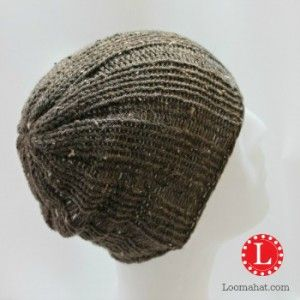 Loom Knit Mens Brimless Rib Stitch Slouch Beanie. FREE Pattern with Video Tutorial
