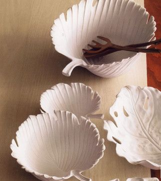 Porcelain Palm Leaf Serving Bowl, White - contemporary - serveware - - by Pop Deluxe