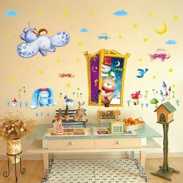 2017 Magic Door Wall Stickers for Kids Rooms Cartoon Animal Park Kindergarten TV Background