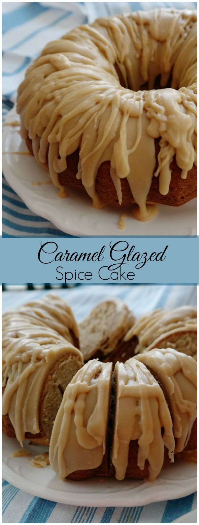Caramel Glazed Spice Cake-start with a simple yellow box mix then with the addition of spices and a sweet caramel glaze you have something that will rival any cake made from scratch!