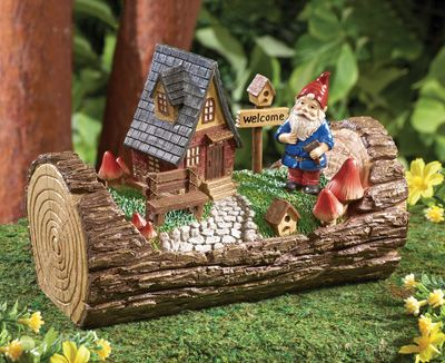 Superb Mini Gnome Home In Tree Trunk Garden Decor