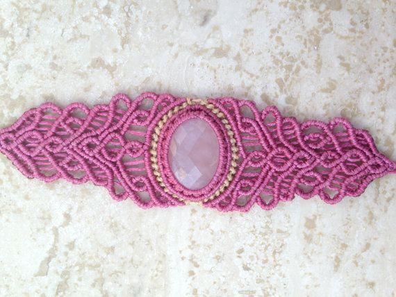 Rose Quartz Macrame Bracelet Handmade with Rose by ARTofCecilia