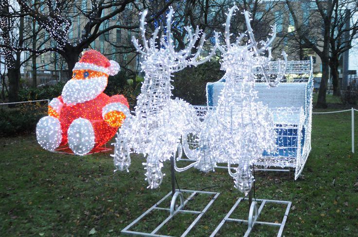Santa his reindeers and his sleigh at St Hilda's Church Garden. #southtyneside #Christmas #festivelights