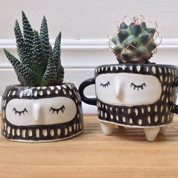 Add a little humor to your garden/plant collection! @Hinkleville's mini plant pots are perfect for any small plants, including succulents and cacti. Great gift for friends, family members or for yourself.  Shop: handmadeloves.com/vendor/hinkleville  #Hink