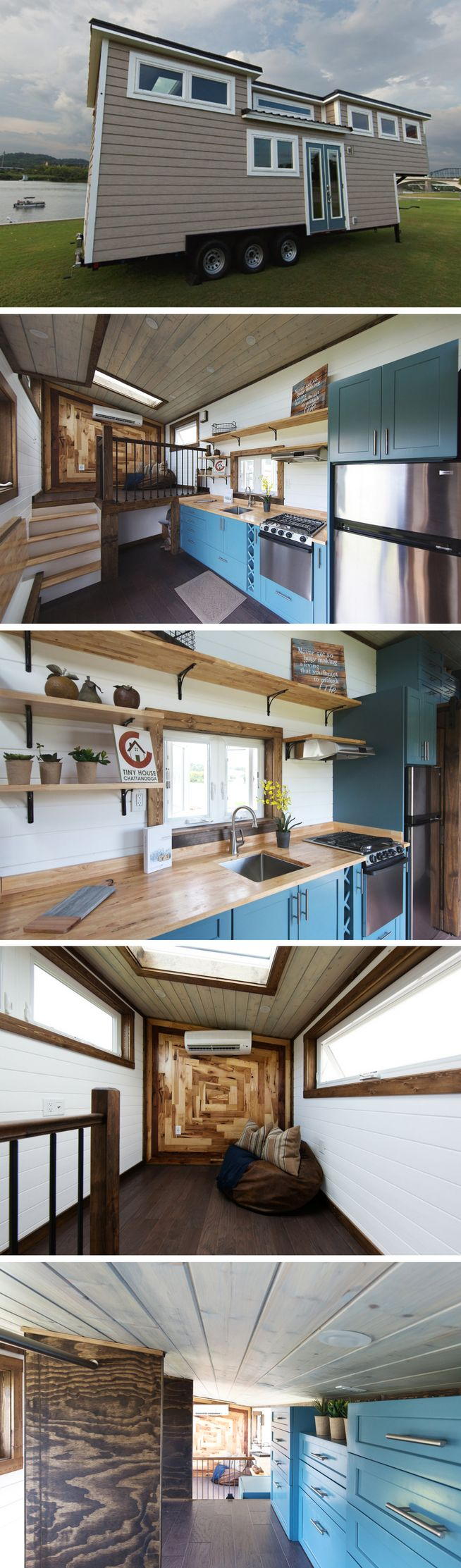 """The Lookout: a 299 sq ft tiny home by Tiny House Chattanooga. The home was voted """"Best in Show"""" at the 2016 Tiny House Jamboree and is now available for sale!"""