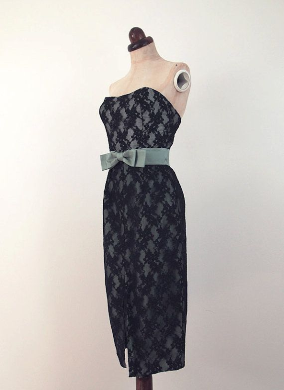 Strapless Lace Wiggle Dress Vintage 1950s by alexandrakingdesign