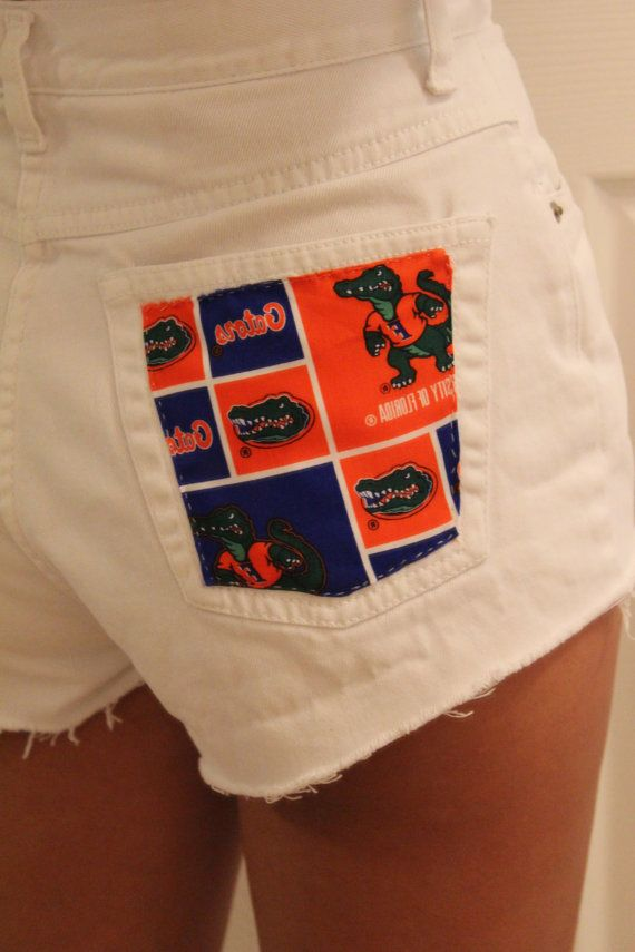 With LSU Tigers white cut off shorts