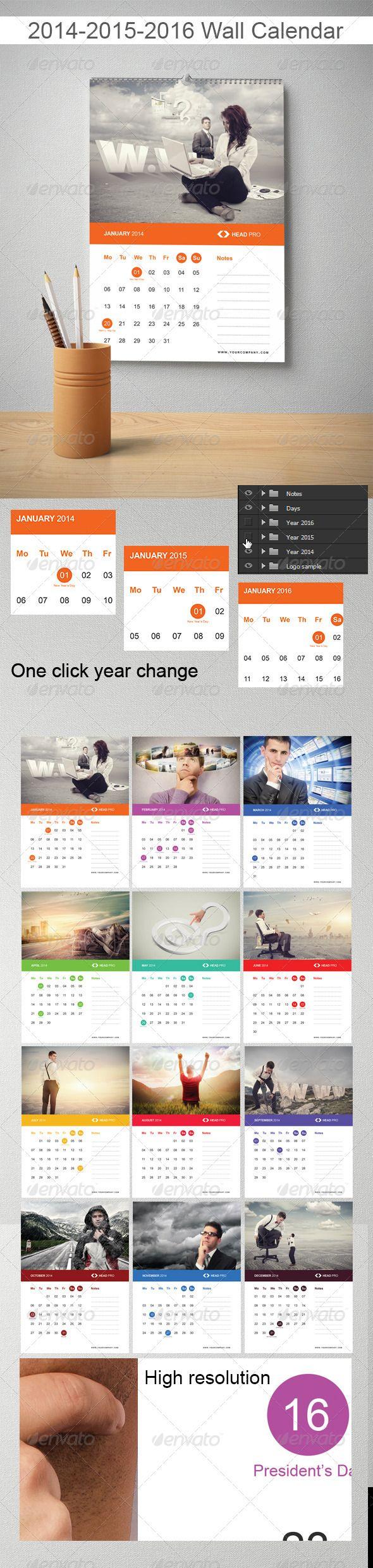 2014 2015 2016 Wall Calendar - Calendars Stationery