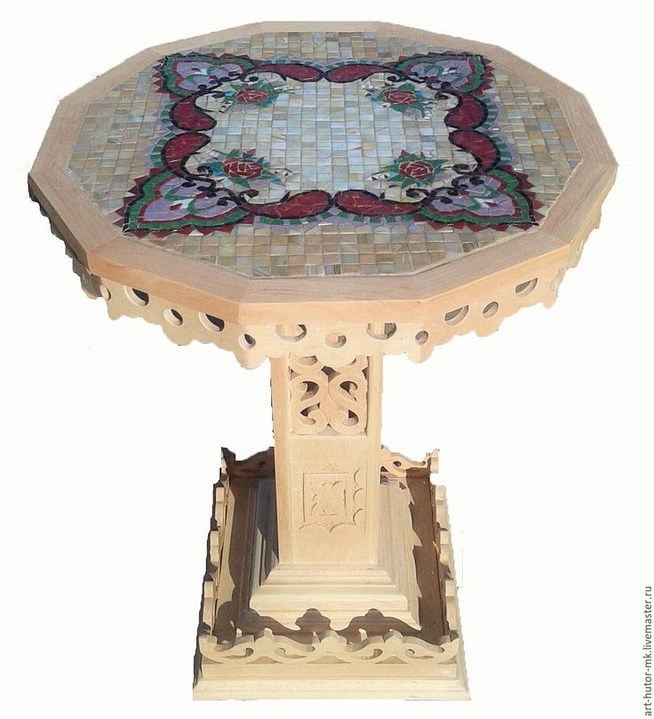 """Купить Резной стол с мозаикой """"Надюша"""" - журнальный столик, стеклянная мозаика, оригинальный подарок"""
