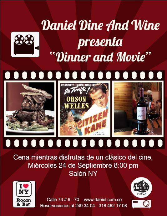"""Los invitamos a disfrutar de la 2 Edición de """"Dinner and Movie"""" Cena mientras disfrutas de un clásico del cine, en esta ocasión proyectaremos Citizen Kane. #Cine #Clásicos #Restaurante #Bogotá"""