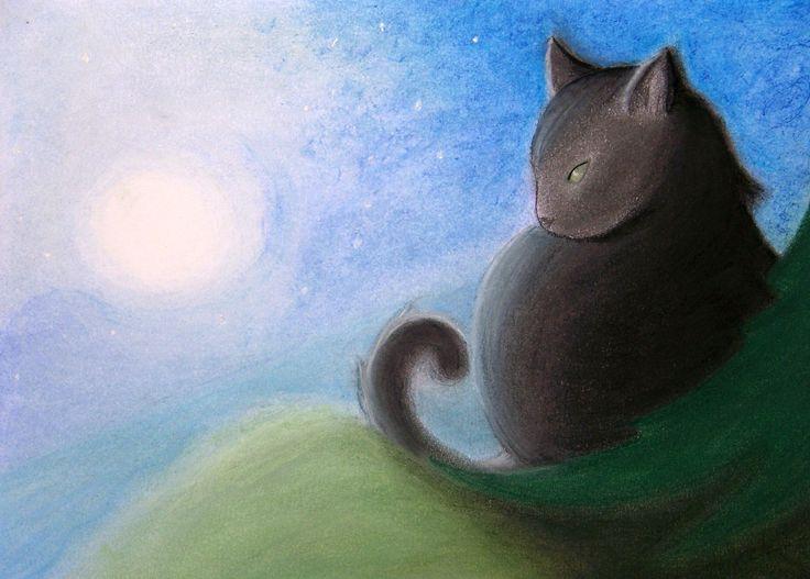 Po dlouhé době jsem vzala do rukou suchý pastel a takto to dopadlo. Kresba - Úplněk / Full Moon by Lady Lu * E-SHOP :  www.fler.cz/love * WEBSITE : www.ladylu.cz // www.facebook.com/ladylu.cz * #art #ladylu #kunst #umění #interior #home #café #drawing #cat #fullmoon #obrázek