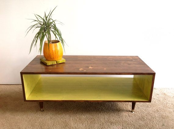 Coffee Table Handmade Mid Century Modern Walnut and Avocado Green (or custom color) Coffee Table Furniture MCM
