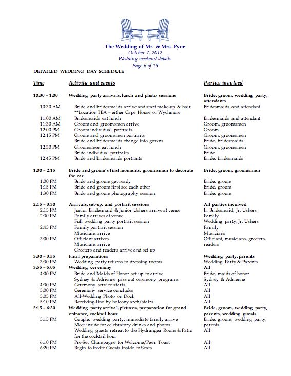 17 best ideas about wedding day schedule on pinterest wedding day itinerary your timeline and for Wedding day schedule templates