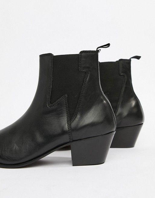 6add5fbb38 ASOS DESIGN | ASOS DESIGN stacked heel western boots in black leather with  lightening detail