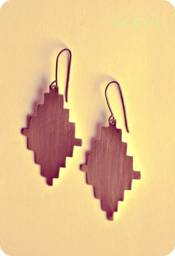 Tribal, southwestern-inspired brass earrings.  Handcut, handmade....#amazingness #musthave