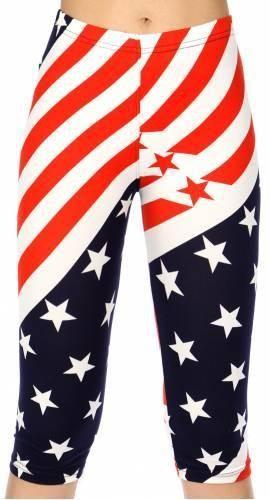 Diagonal American flag print softbrush capri leggings
