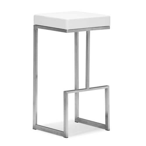 Darwen White And Brushed Stainless Steel Bar Chair Bar Height (28 To 36 Inch) Bar Stools