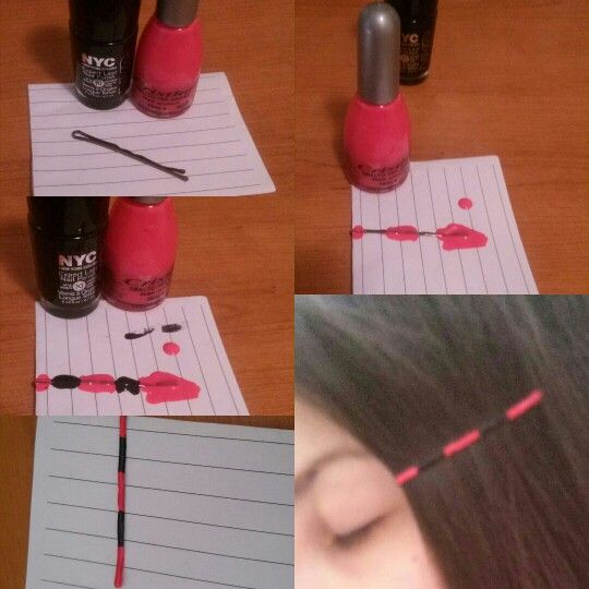 Are you tired of boring bobby pins? Personalize them with some nail polish!  #diy #easy #fast #cool #tumblr #nailpolish #hair #accessories #black #pink #neon #fluo #homemade #simplebuteffective #bobbypins