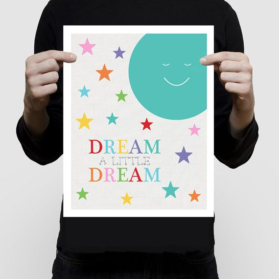 nursery art print space themed moon and stars  by creativemonsoons