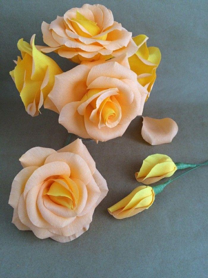 papierblumen basteln gelbe rosen papierkunst