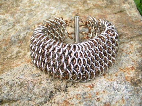 Dračí náramek - pánský kov drát drak kovový pánský nerez kroužky kroužkování kroužkovaný lehký šupiny draci masivní dračí veliký mohutný pro muže pro pány široký hliníkový nátepník po muže