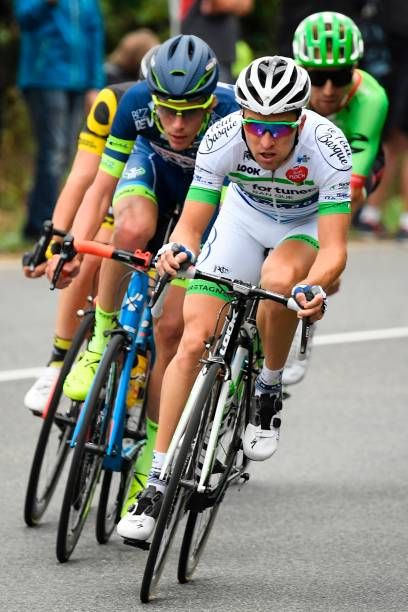 France's Thomas Boudat France's Yoann Offredo France's Laurent Pichon and USA's Taylor Phinney ride in a breakaway during the 2035 km second stage of...