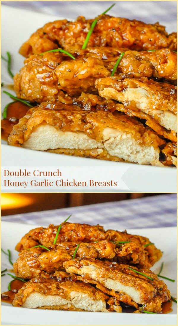 Double Crunch Honey Garlic Chicken Breasts - Super crunchy, double coated chicken breasts get dipped in the best ever honey garlic sauce before serving. This easy chicken dish has had well over 2 MILLION page hits on RockRecipes.com and has been pinned hundreds of thousands of times on Pinterest, making it our most popular recipe ever.