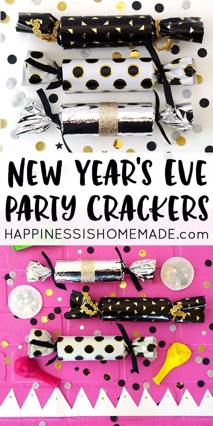 Make your own DIY New Year's Eve party crackers and fill them with confetti, balloons, paper crowns, noisemakers, and LOVE LIST items for each person. Be sure to label your party cracker with the names!