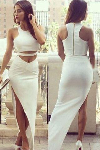 Sleeveless crop top assymmetric maxi skirt set