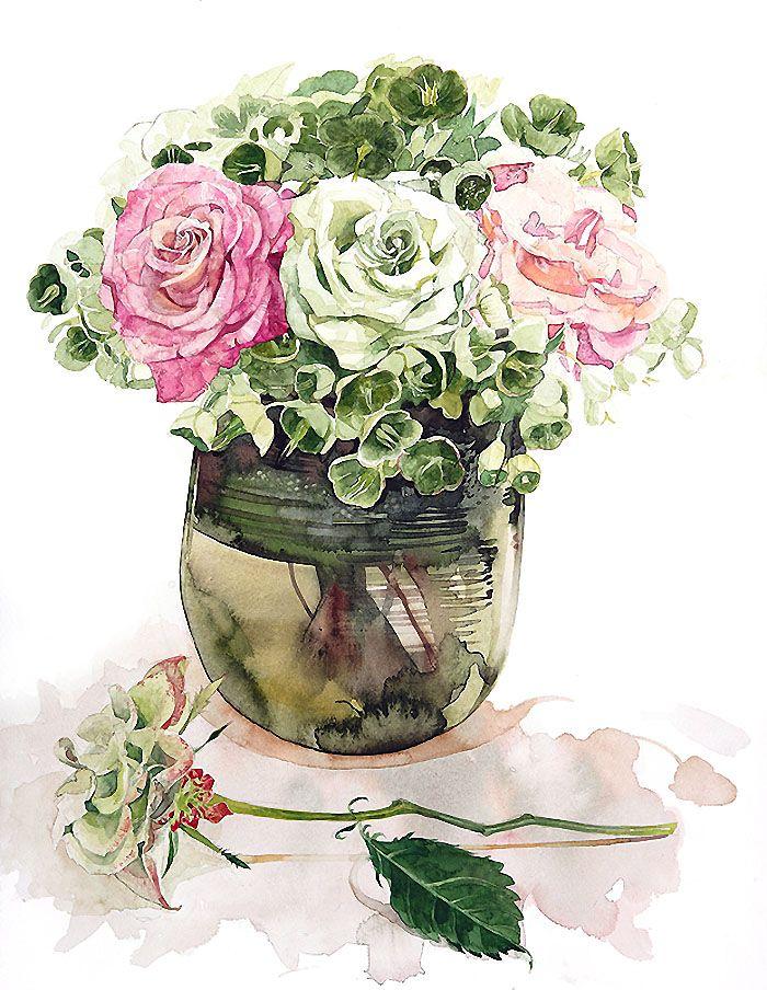 157 best Watercolor - Bouquets images on Pinterest   Watercolor ...