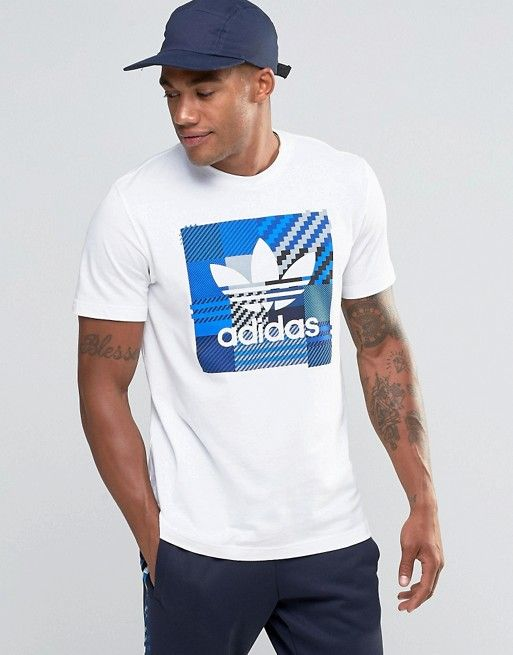 adidas Originals | Camiseta blanca a cuadros Impo AZ1029 de adidas Originals