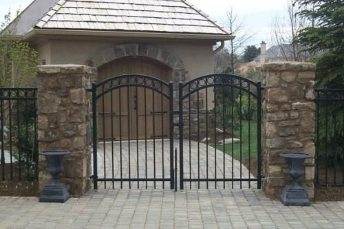 12 best wrought iron fence ideas images on pinterest for Brick and wrought iron fence designs